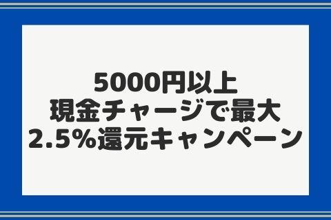 【誰でも何回でも】Amazonギフト券5000円以上現金チャージで最大2.5%還元キャンペーン